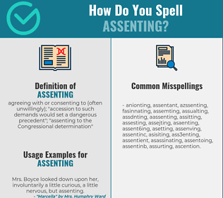 Correct spelling for assenting