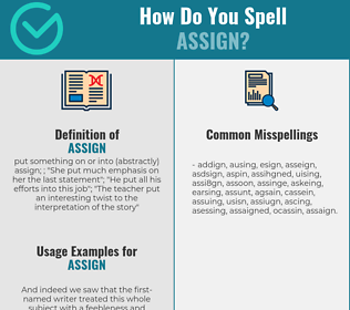 Correct spelling for assign