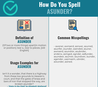 Correct spelling for asunder