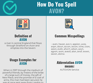 Correct spelling for avon