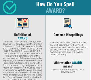 Correct spelling for award