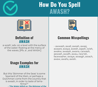 Correct spelling for awash