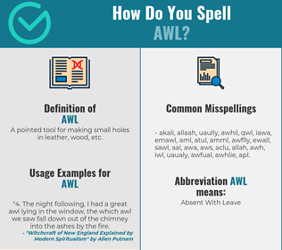 Correct spelling for awl