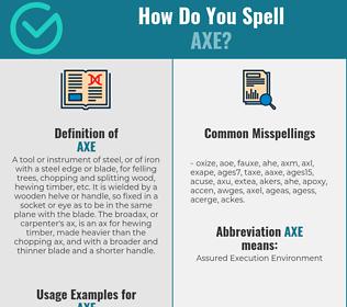 Correct spelling for axe