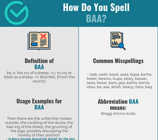 Correct spelling for baa