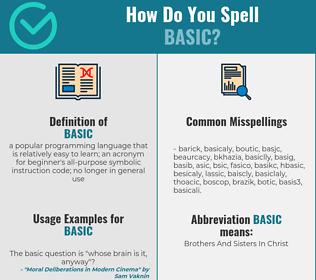 Correct spelling for basic