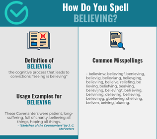 Correct spelling for believing