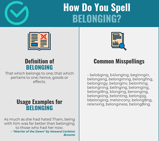 Correct spelling for belonging