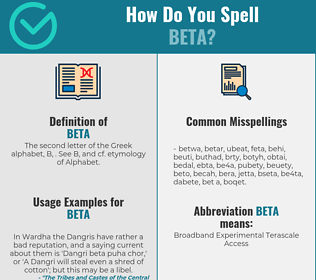 Correct spelling for beta