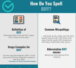 Correct spelling for biff