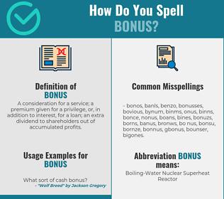 Correct spelling for bonus