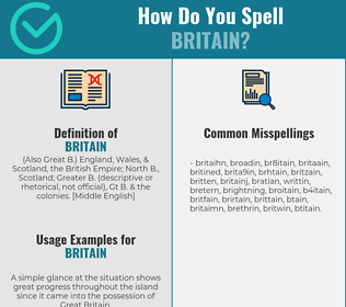 Correct spelling for britain
