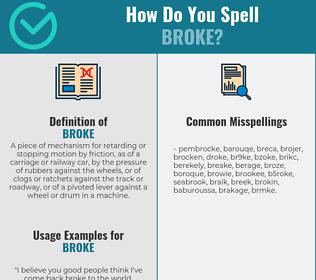 Correct spelling for broke