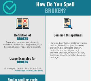 Correct spelling for broken