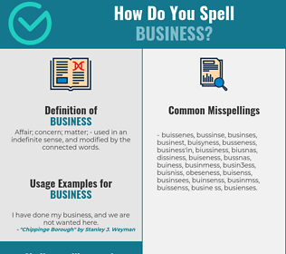 Correct spelling for business