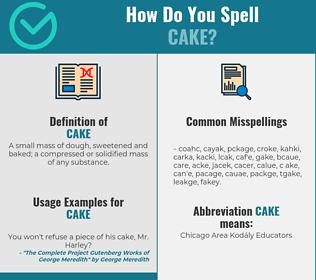 Correct spelling for cake