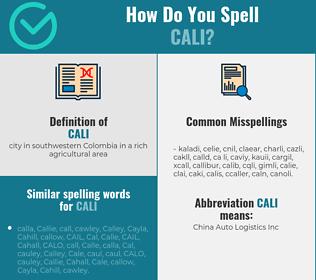 Correct spelling for cali