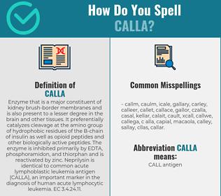 Correct spelling for calla
