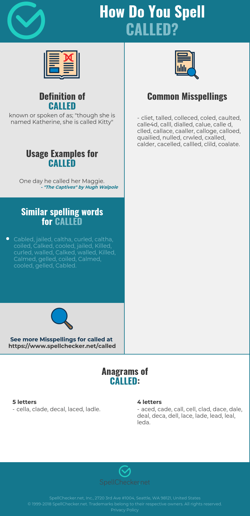 Correct spelling for called [Infographic] | Spellchecker net