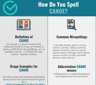 Correct spelling for canoe