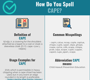 Correct spelling for cape