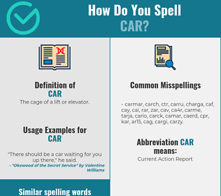 Correct spelling for car