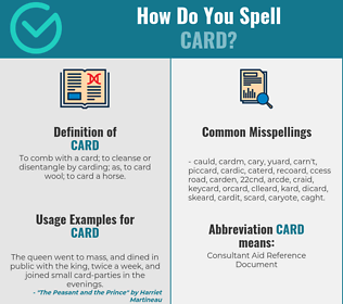 Correct spelling for card