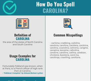 Correct spelling for carolina