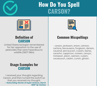 Correct spelling for carson