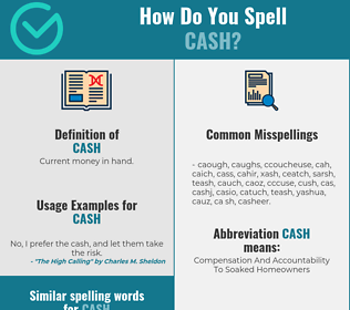 Correct spelling for cash