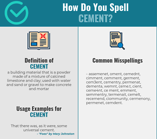 Correct spelling for cement