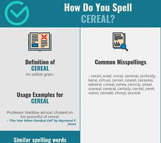 Correct spelling for cereal