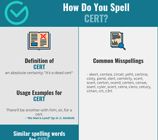 Correct spelling for cert