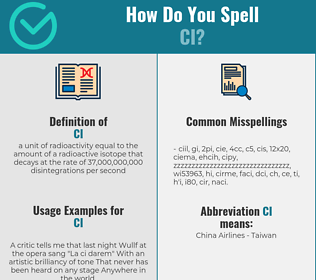 Correct spelling for ci