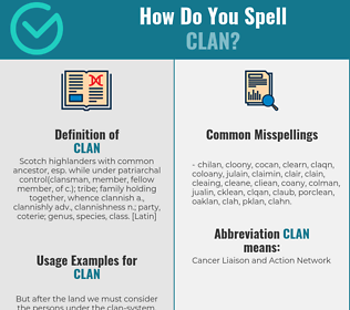 Correct spelling for clan
