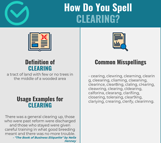 Correct spelling for clearing