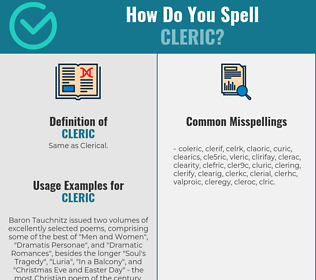 Correct spelling for cleric