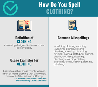 Correct spelling for clothing