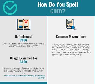 Correct spelling for cody