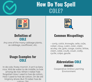 Correct spelling for cole