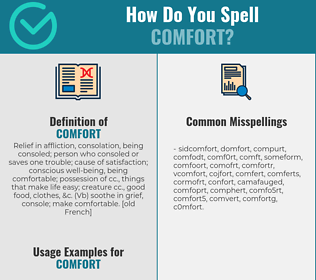 Correct spelling for comfort