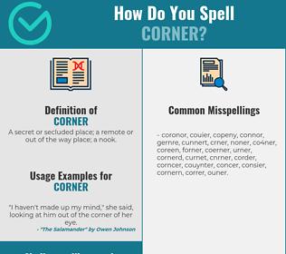 Correct spelling for corner