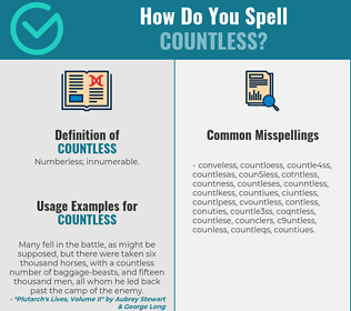 Correct spelling for countless