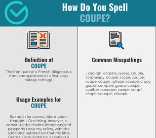 Correct spelling for coupe