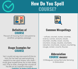 Correct spelling for course