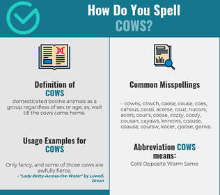 Correct spelling for cows