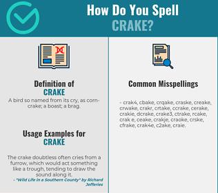 Correct spelling for crake