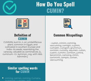 Correct spelling for cumin