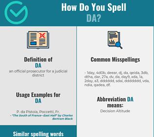 Correct spelling for da