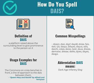 Correct spelling for dais